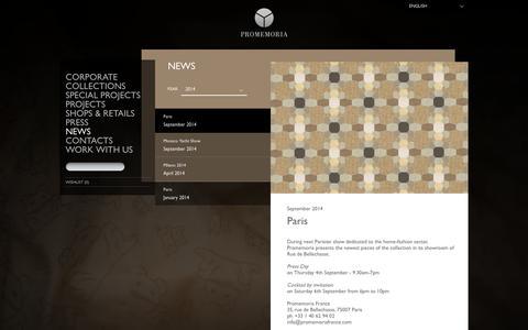 Screenshot of Press Page promemoria.com - NEWS -  EN - captured Oct. 6, 2014