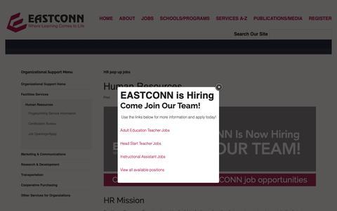 Screenshot of Jobs Page eastconn.org - Human Resources - captured Nov. 9, 2018