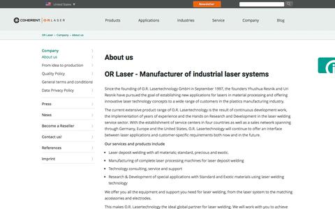 Screenshot of About Page or-laser.com - about us - OR Laser - captured Dec. 4, 2019