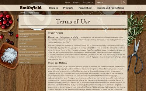Screenshot of Terms Page smithfield.com - Terms of Use - Smithfield.com | Flavor hails from Smithfield. - captured Feb. 13, 2018