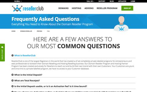 Screenshot of FAQ Page resellerclub.com - Products Pricing - FAQ | ResellerClub - captured Oct. 26, 2014