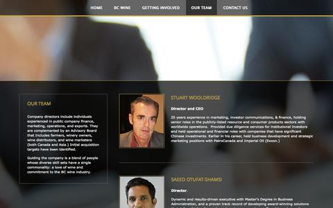 Screenshot of Team Page tullochwine.com - Our Team - captured Oct. 7, 2014