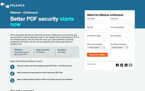 Screenshot of Landing Page nuance.com - Nuance Communications: Better PDF security starts now. - captured April 9, 2018