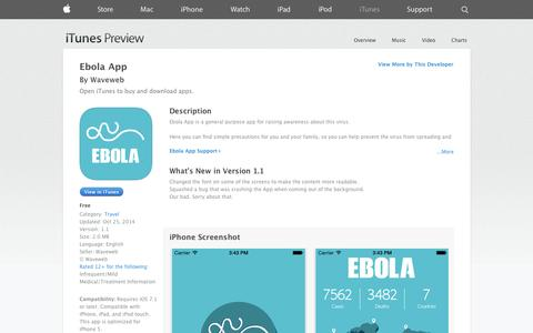 Screenshot of iOS App Page apple.com - Ebola App on the App Store on iTunes - captured Nov. 2, 2014