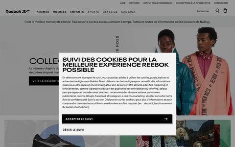 Screenshot of Home Page reebok.fr - Boutique Officielle Reebok   Reebok France - captured Dec. 12, 2019