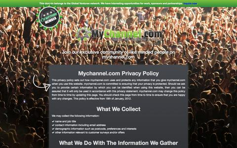 Screenshot of Privacy Page mychannel.com - Mychannel.com - Privacy & Policy - captured Feb. 22, 2016