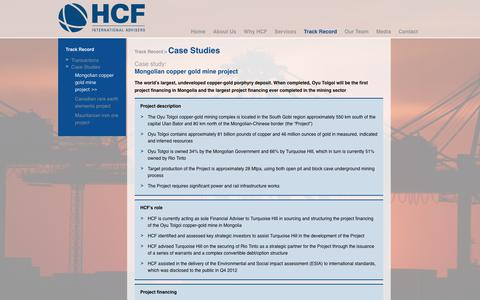 Screenshot of Case Studies Page hcfintl.com - Mongolian copper gold mine project | HCF International Advisers - captured Dec. 13, 2018