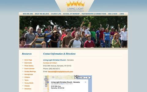 Screenshot of Contact Page Maps & Directions Page livinglightchurch.com - Living Light Christian Church of Kenosha Wisconsin, Religion - captured Oct. 22, 2014