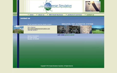 Screenshot of Contact Page keenansimulationcorporation.com - Contact Us - captured Sept. 30, 2014