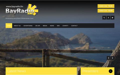 Screenshot of Home Page bayradio.fm - Bay Radio  Broadcasting along Spain's Mediterranean Coast - captured Feb. 7, 2016