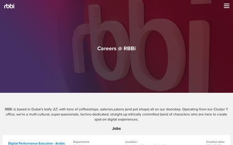 Screenshot of Jobs Page rbbideas.com - Careers @ RBBi - RBBi - captured Oct. 18, 2018