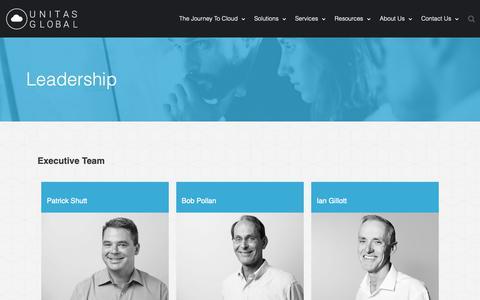 Screenshot of Team Page unitasglobal.com - Leadership - Unitas Global - captured Nov. 3, 2018