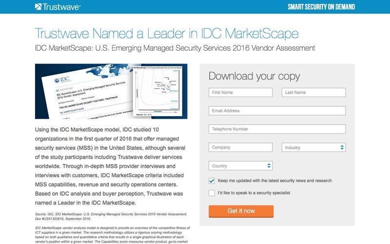 IDC MarketScape: U.S. Emerging Managed Security Services 2016 Vendor Assessment
