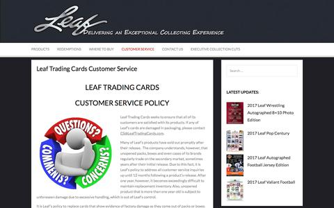 Screenshot of Support Page leaftradingcards.com - Leaf Trading Cards Customer Service - Leaf Trading Cards - captured July 25, 2017