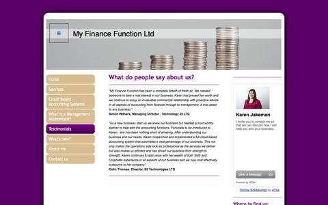 Screenshot of Testimonials Page myfinancefunction.co.uk - My Finance Function - Testimonials - captured Oct. 26, 2014