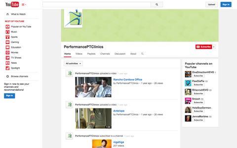 Screenshot of YouTube Page youtube.com - PerformancePTClinics  - YouTube - captured Oct. 22, 2014
