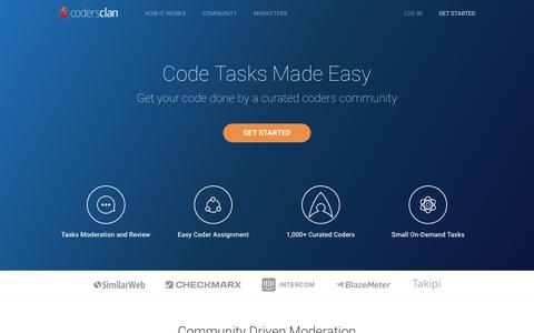 Screenshot of Home Page codersclan.com - CodersClan - A Development Team By Your Side - captured April 18, 2016
