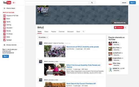 Screenshot of YouTube Page youtube.com - SVILC  - YouTube - captured Nov. 3, 2014