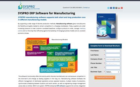 Screenshot of Landing Page syspro.com - Manufacturing Software: Distribution Software and ERP Software by SYSPRO - captured March 17, 2016