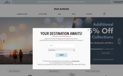 Screenshot of Home Page ricardobeverlyhills.com - Ricardo Beverly Hills | Luggage, Bags, and More - captured Dec. 10, 2018