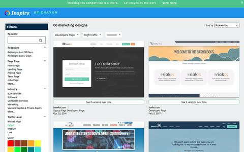 Screenshot of Developers Page crayon.co - High traffic Developers Pages | Website Inspiration and Examples | Crayon - captured Nov. 26, 2019