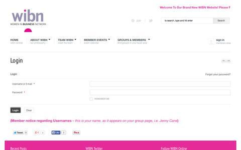 Screenshot of Login Page wibn.co.uk - WIBN » The Women In Business Network » Login - captured Oct. 26, 2014
