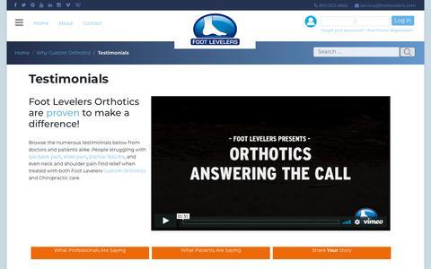 Screenshot of Testimonials Page footlevelers.com - Testimonials - Foot Levelers - captured Feb. 13, 2019
