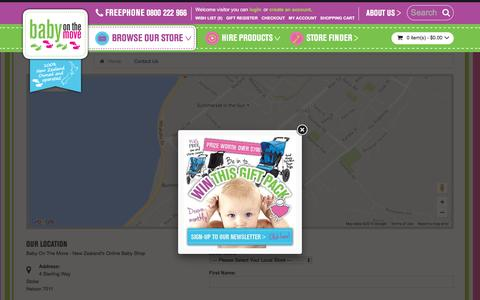 Screenshot of Contact Page babyonthemove.co.nz - Contact Us - captured July 28, 2016