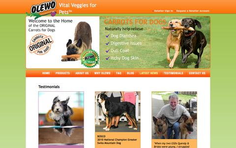 Screenshot of Testimonials Page olewousa.com - Carrots for Dogs - captured March 5, 2016