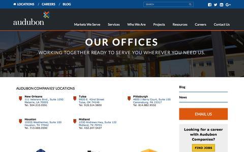 Screenshot of Locations Page auduboncompanies.com - Locations - Audubon Companies - captured Feb. 20, 2018