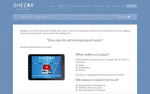 Screenshot of About Page shezartech.com - Shezar Web TechnologiesAbout Us » Shezar Web Technologies - captured Sept. 30, 2014