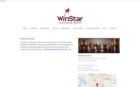 Screenshot of Testimonials Page winstarins.com - Contact Us - WinStar Insurance Group: The Leading Insurer of Wineries & Breweries in the Southwest - captured June 13, 2017