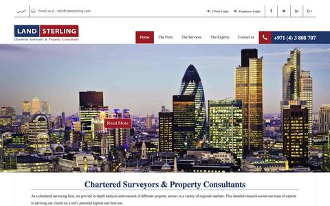 Screenshot of Home Page landsterling.com - Land Sterling Property Consultants in Dubai | Call Us +971 (4) 3 808 707 - captured May 14, 2017