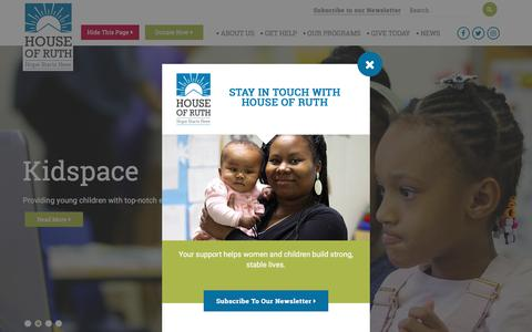 Screenshot of Home Page houseofruth.org - House of Ruth | Hope Starts Here - captured July 23, 2018
