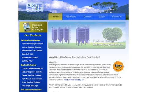 Screenshot of Home Page industrialcleanair.com - Industrial Dust Collector Systems, Cartridge Filters, Bag Filters, Rotary Valves & Other Accessories - captured Oct. 4, 2014