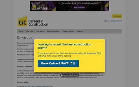 Screenshot of Contact Page careersinconstruction.com - CareersinConstruction.com | Contact Us - captured Sept. 22, 2018