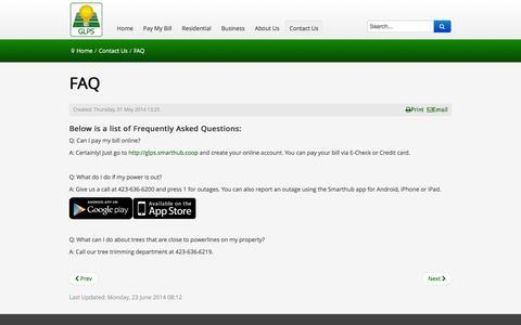 Screenshot of FAQ Page glps.net - FAQ - captured Feb. 2, 2016