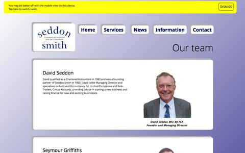 Screenshot of Team Page seddonsmith.co.uk - Seddon Smith: About our team - captured Nov. 2, 2014