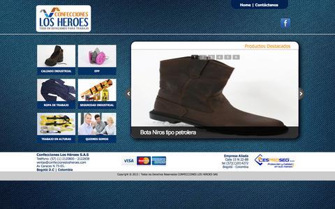 Screenshot of Home Page confeccioneslosheroes.com - LosHeroes - captured Dec. 5, 2015