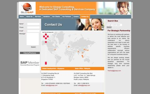Screenshot of Contact Page Locations Page glosap.com - Glosap – A Dedicated SAP Consulting, SAP Services & Solution Partner  Singapore, Malaysia, USA, India. SAP Upgrade, SAP Customization, SAP Training  Services - captured Oct. 22, 2014
