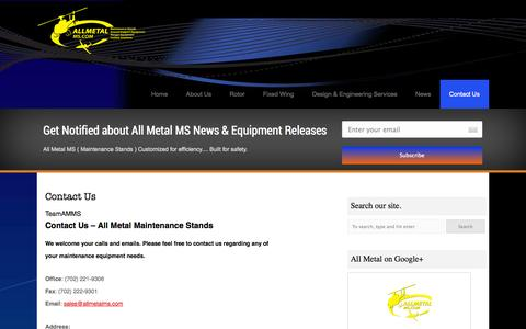 Screenshot of Contact Page allmetalms.com - Contact Us   All Metal Maintenance Stands   All Metal MS - captured Oct. 4, 2014
