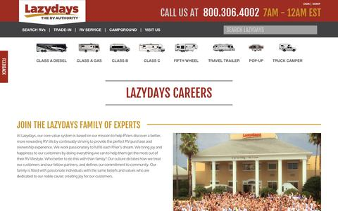 Screenshot of Jobs Page lazydays.com - Career Opportunities Available at Lazydays - captured Sept. 25, 2014