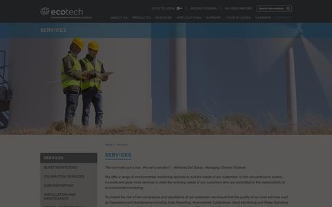 Screenshot of Services Page ecotech.com - Services - captured Jan. 26, 2016