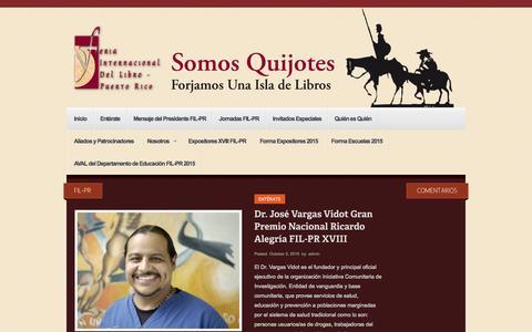 Screenshot of Home Page filpuertorico.org - Feria Internacional del Libro de Puerto Rico - captured Oct. 14, 2015