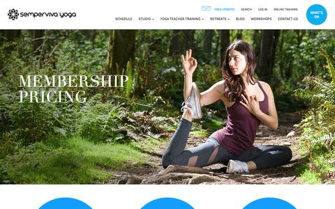 Screenshot of Pricing Page semperviva.com - Yoga Memberships - unlimited classes and styles    Semperviva – Leading Yoga Teacher Training Vancouver - captured June 2, 2017