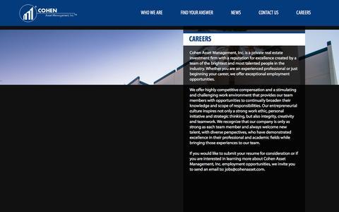 Screenshot of Jobs Page cohenasset.com - Cohen Asset : Careers - captured Jan. 29, 2016