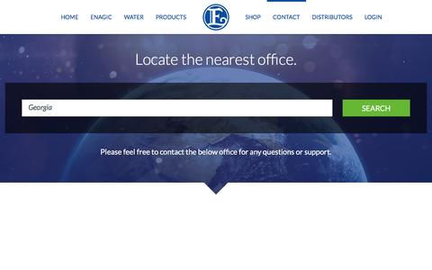 Screenshot of Home Page Contact Page Locations Page enagic.com - Contact » Locate the nearest office. - captured Nov. 17, 2019