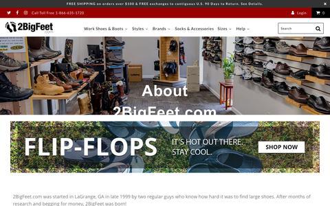 Screenshot of About Page 2bigfeet.com - About 2BigFeet.com - captured Sept. 23, 2018