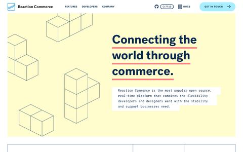 Screenshot of Home Page Developers Page reactioncommerce.com - Reaction Commerce | Connecting the world through commerce. - captured Sept. 20, 2018