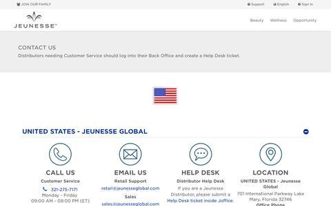 Screenshot of Contact Page jeunesseglobal.com - Contact Us| Jeunesse Global - captured Sept. 8, 2019